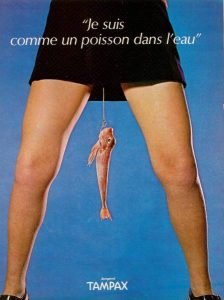 Tampax advert with fish dangling between a woman's legs