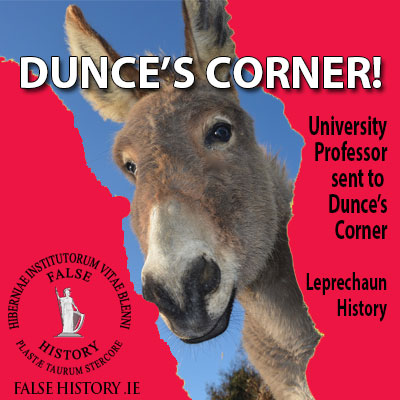 Irish university professor sent to the dunce's corner. Pseudohistory.